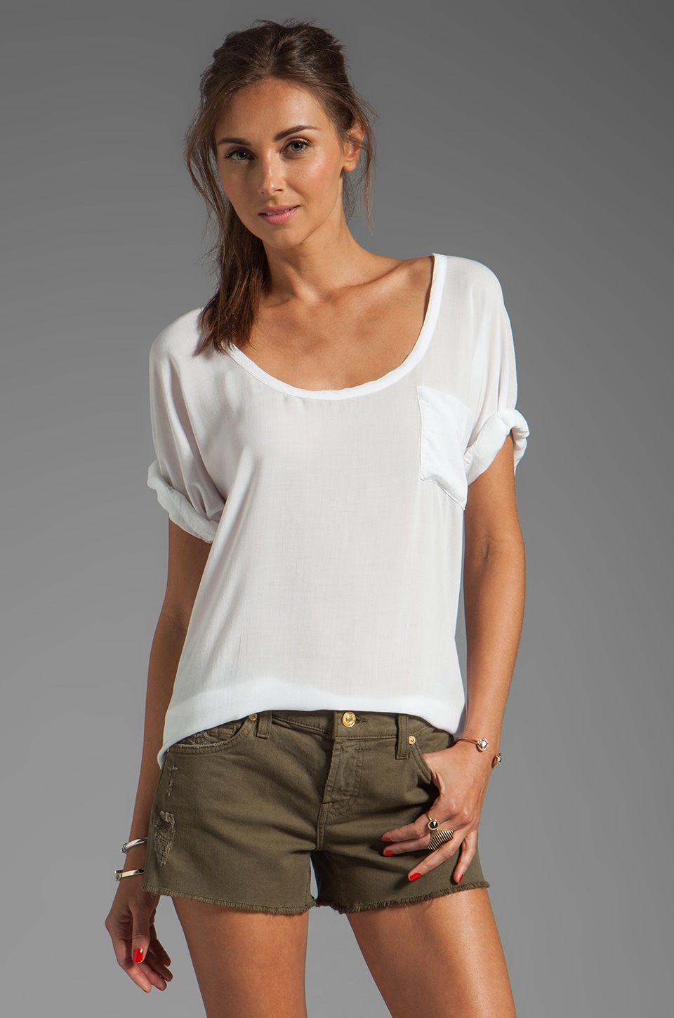 James Perse Soft Woven Pocket Tee in White