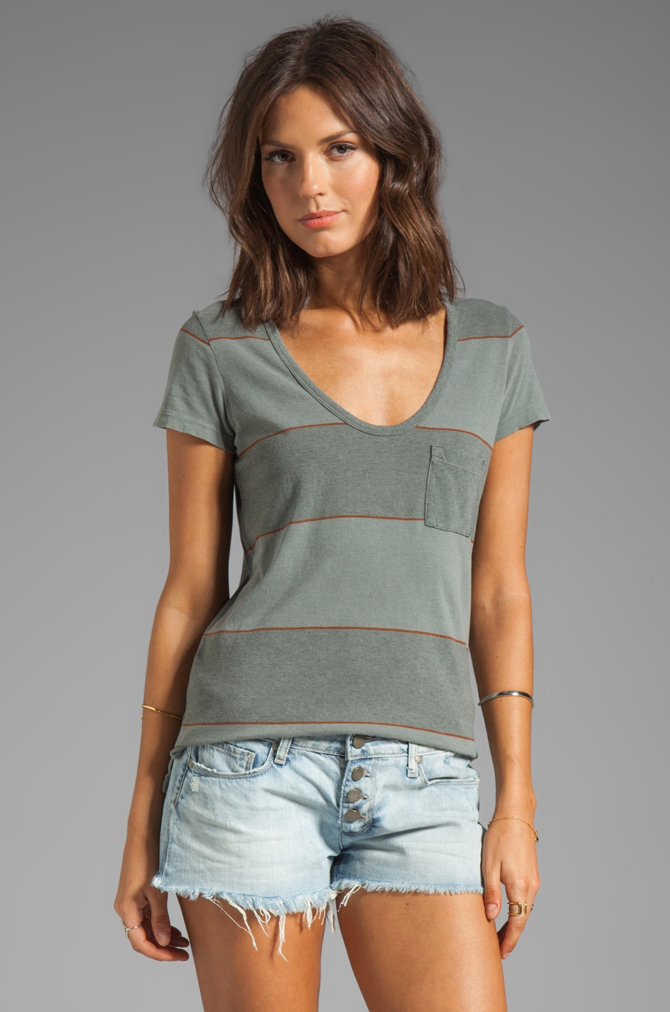 James Perse Coastal Stripe Boyfriend Tee in Alligator/Pigment