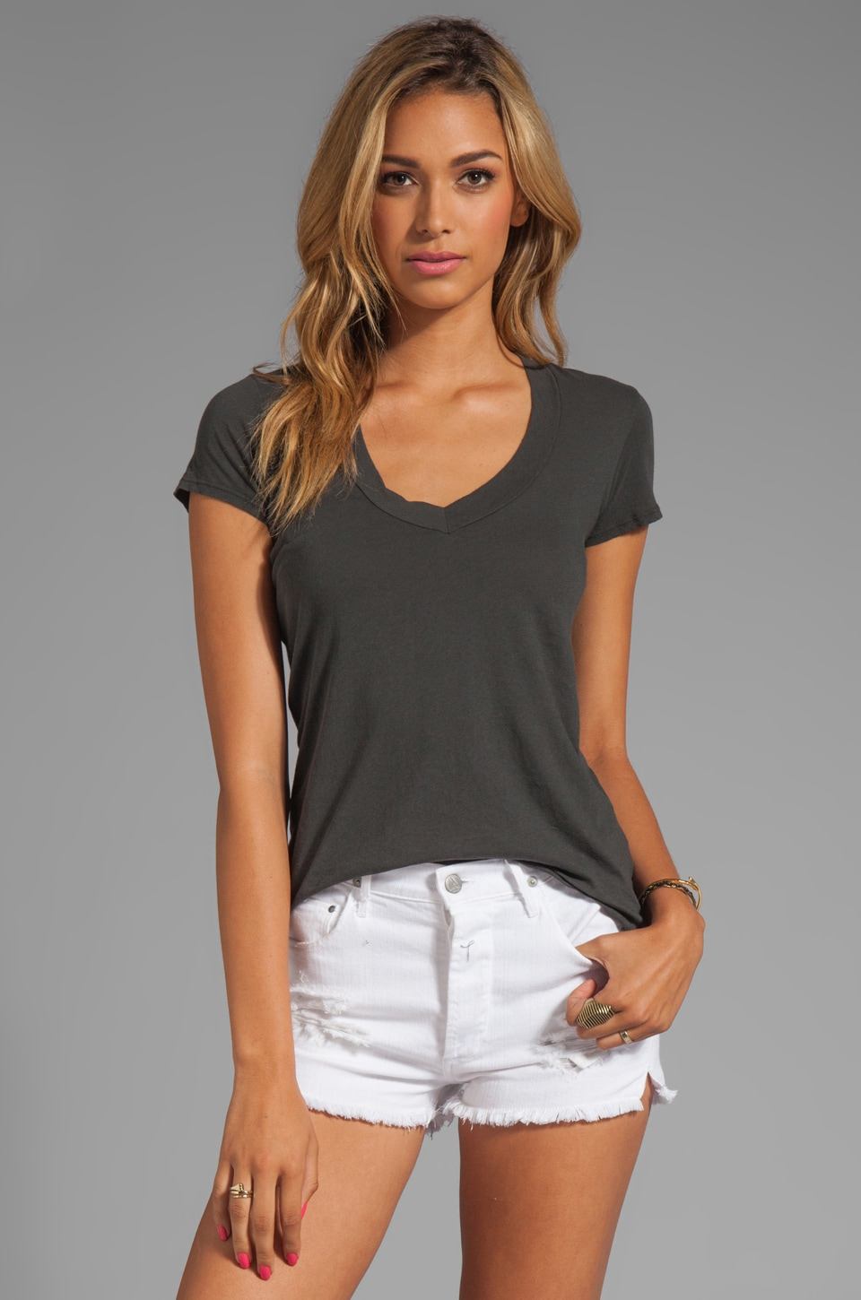 James Perse Relaxed Casual V Neck Tee in Charcoal