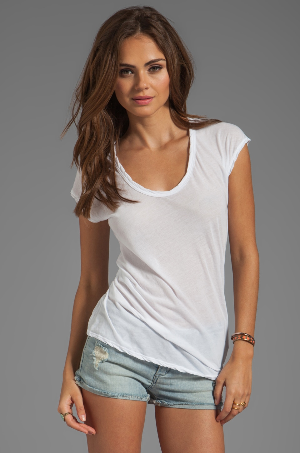 James Perse Asymmetrical Tuck Tee in White