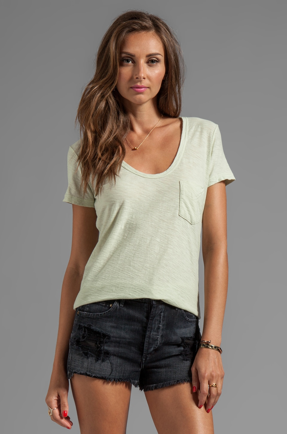 James Perse Sheer Slub Boyfriend Tee in Stem