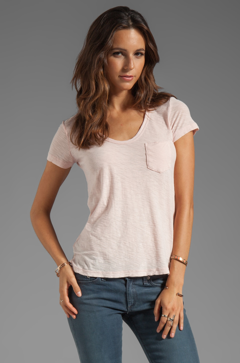 James Perse Sheer Slub Boyfriend Tee in Puff