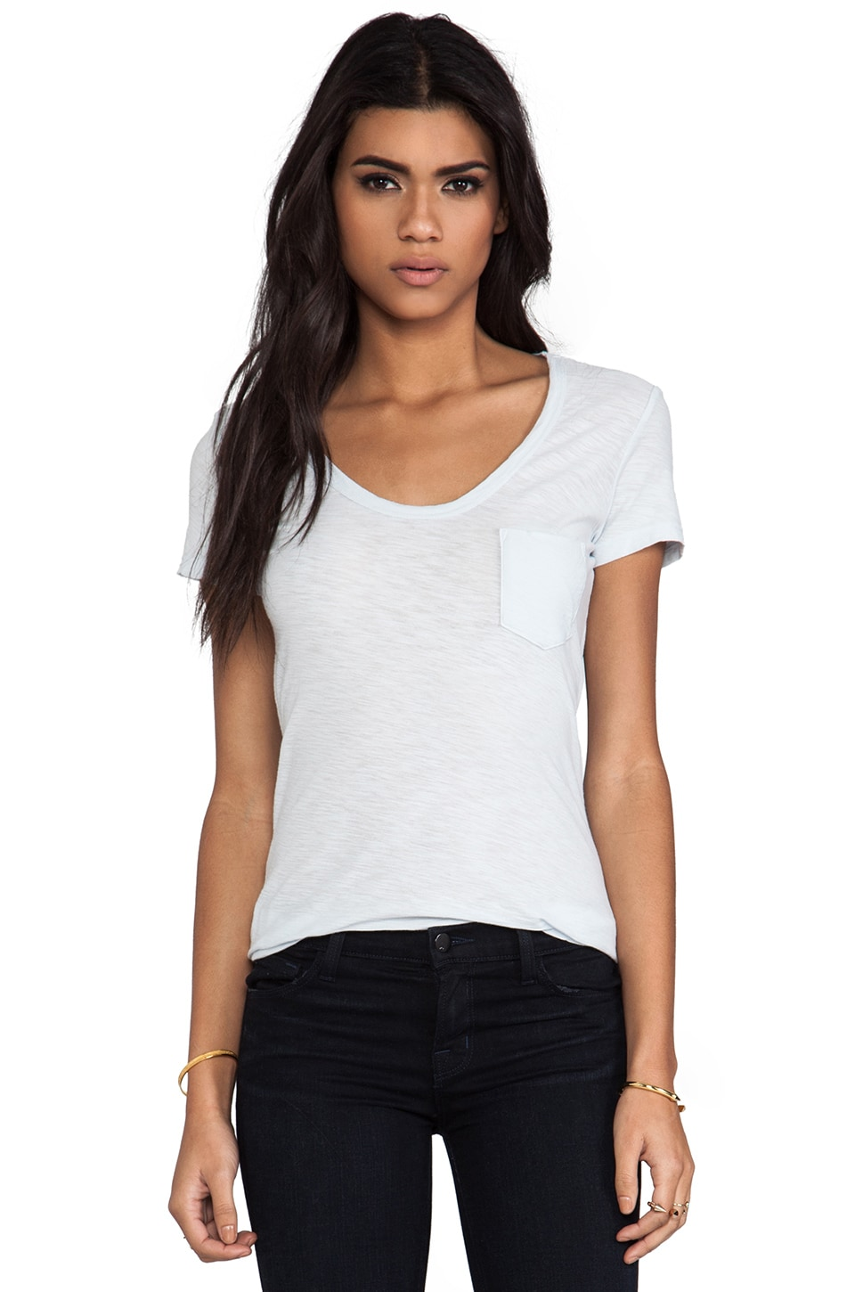 James Perse Sheer Slub Boyfriend Tee in SkyBlue