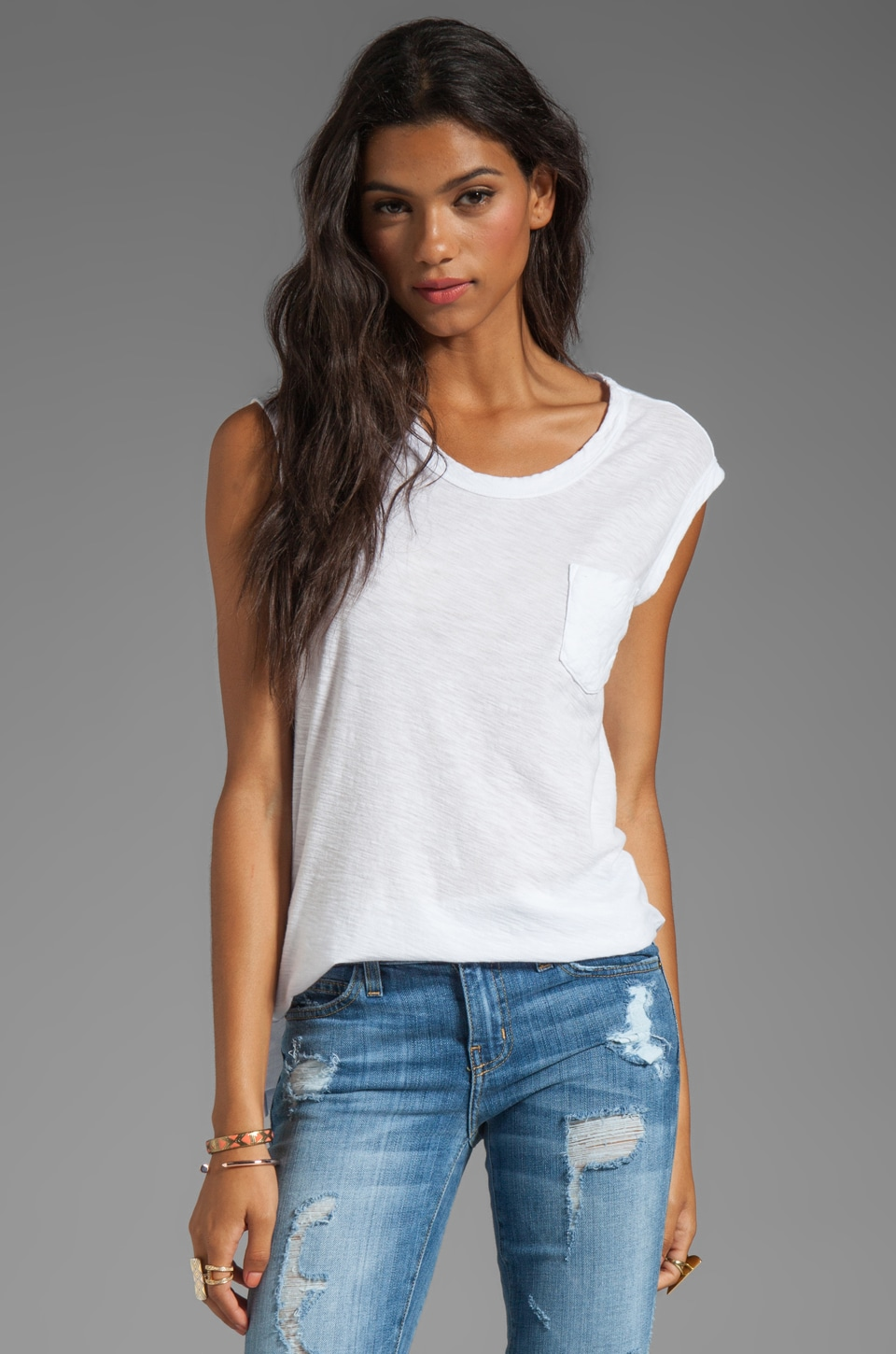 James Perse Sheer Slub Pocket Tee in White