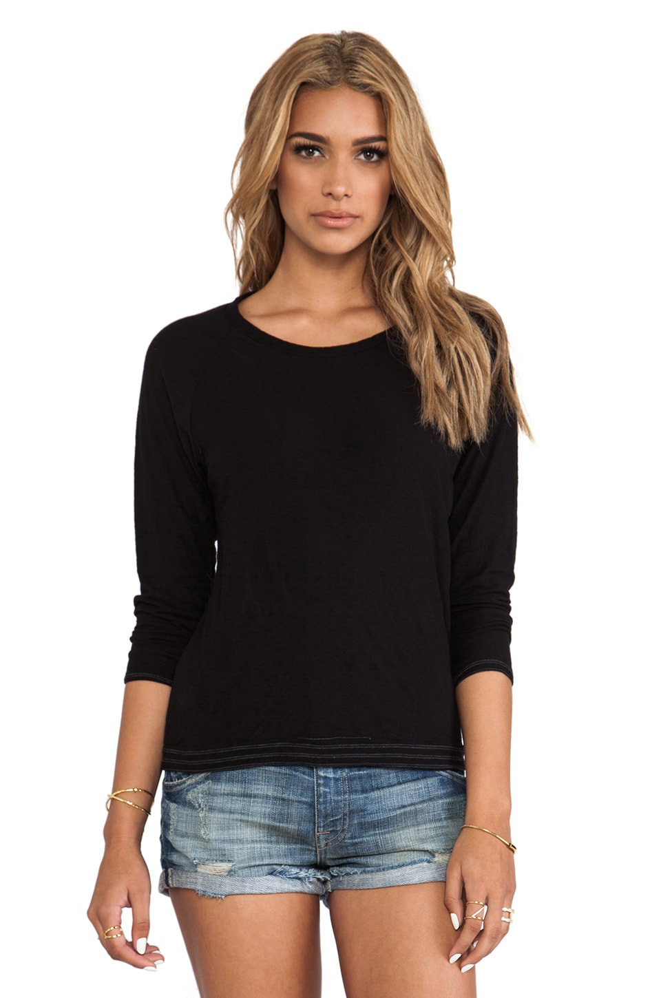 James Perse Double Layer and Stripe Raglan in Black