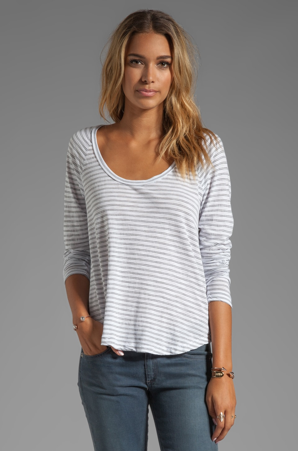 James Perse Slub Stripe Flare Tee in White