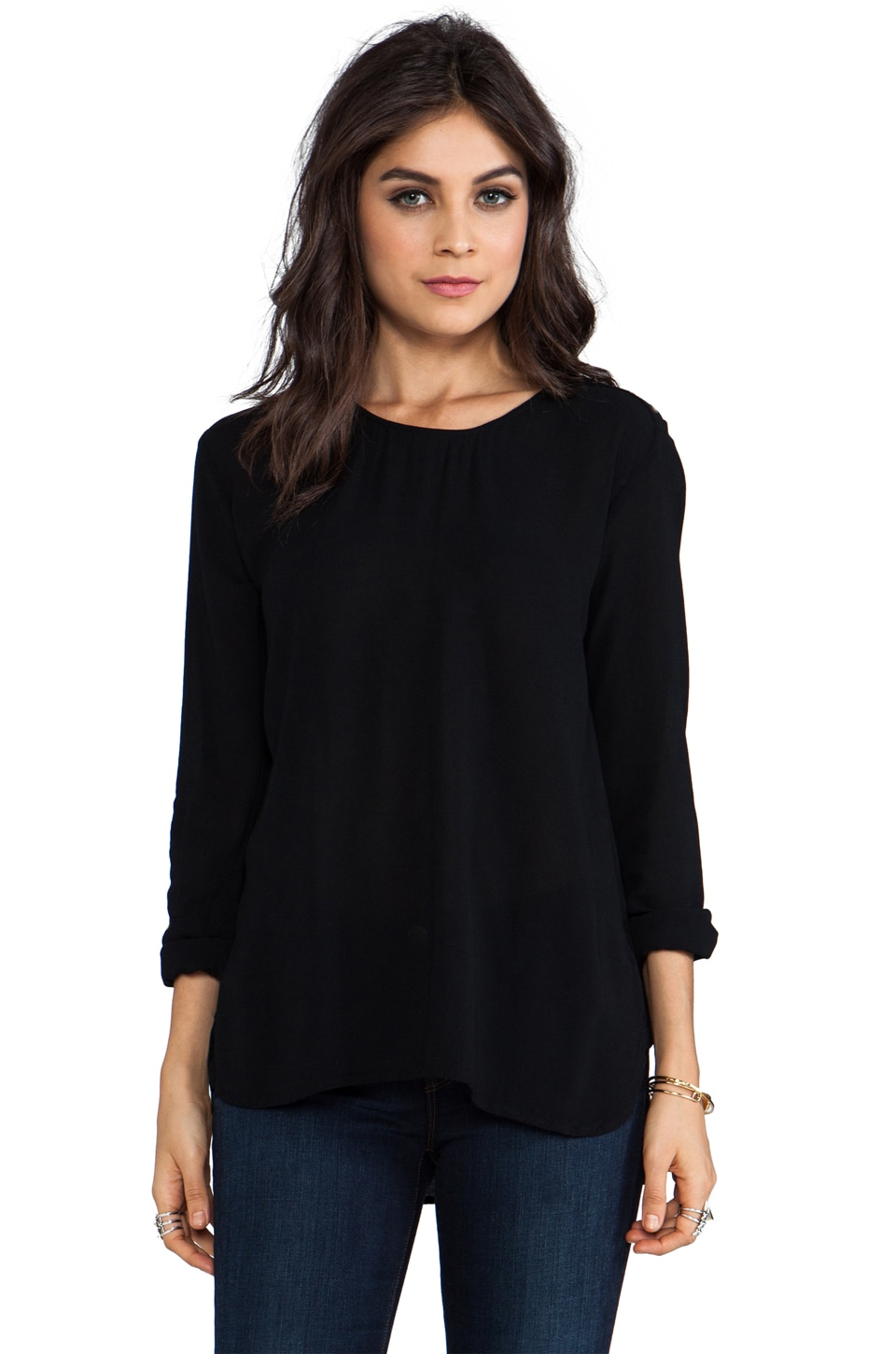 James Perse Button Shoulder Top in Black