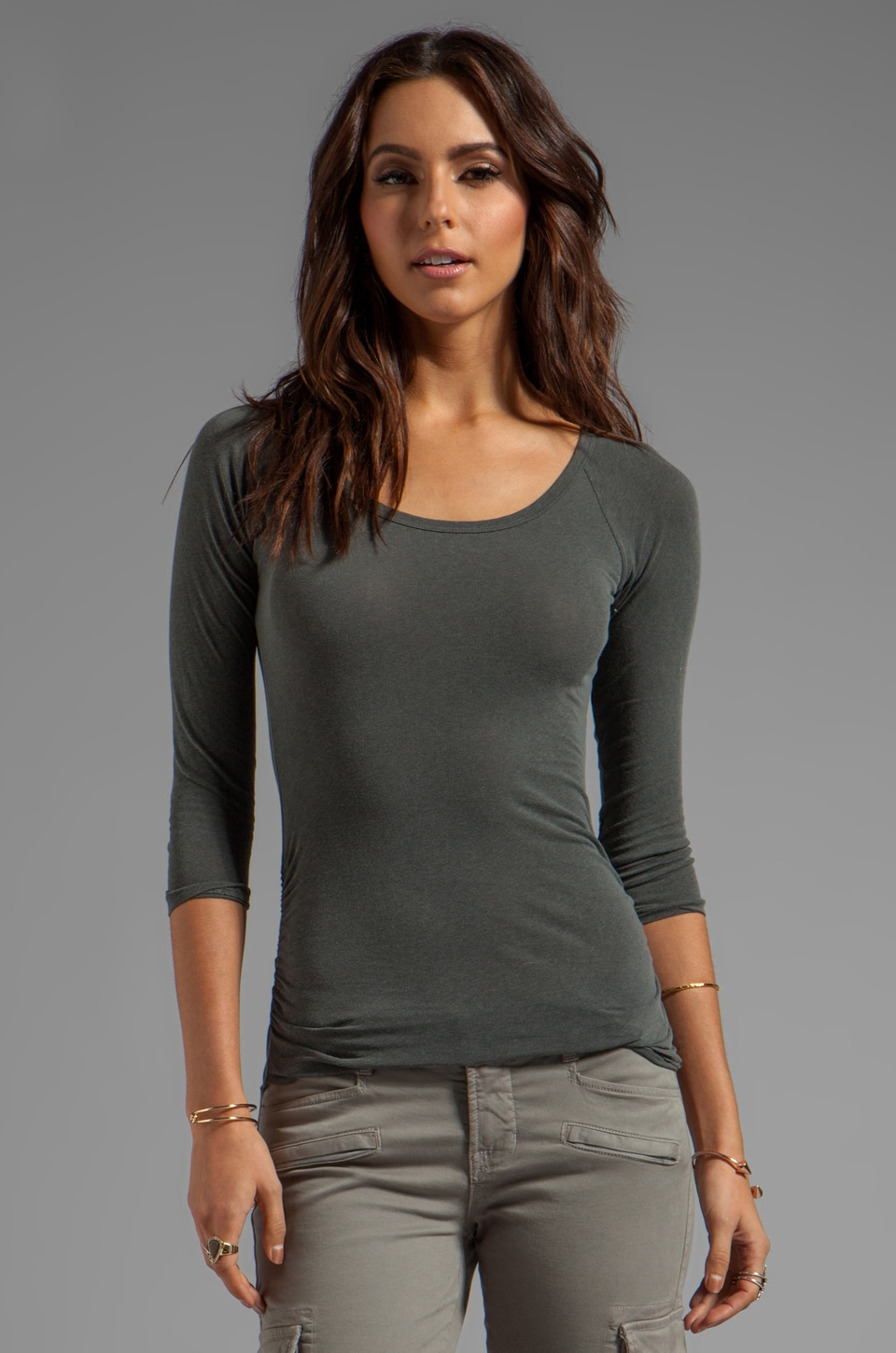 James Perse Skinny Ruched Baseball Tee in Charcoal