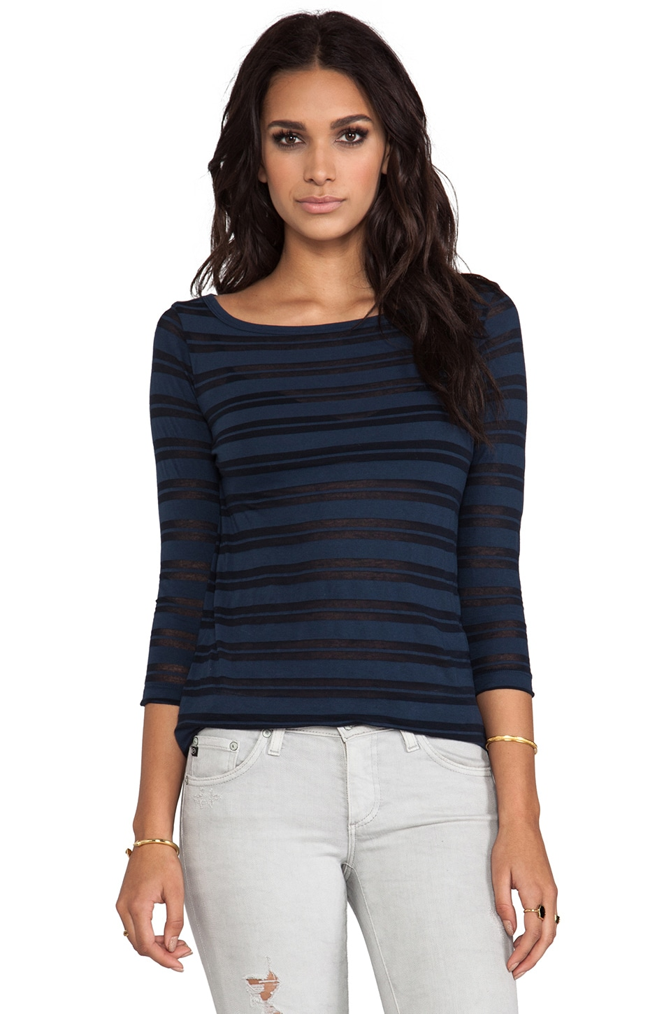 James Perse Jewel Neck Stripe Top in Imperial