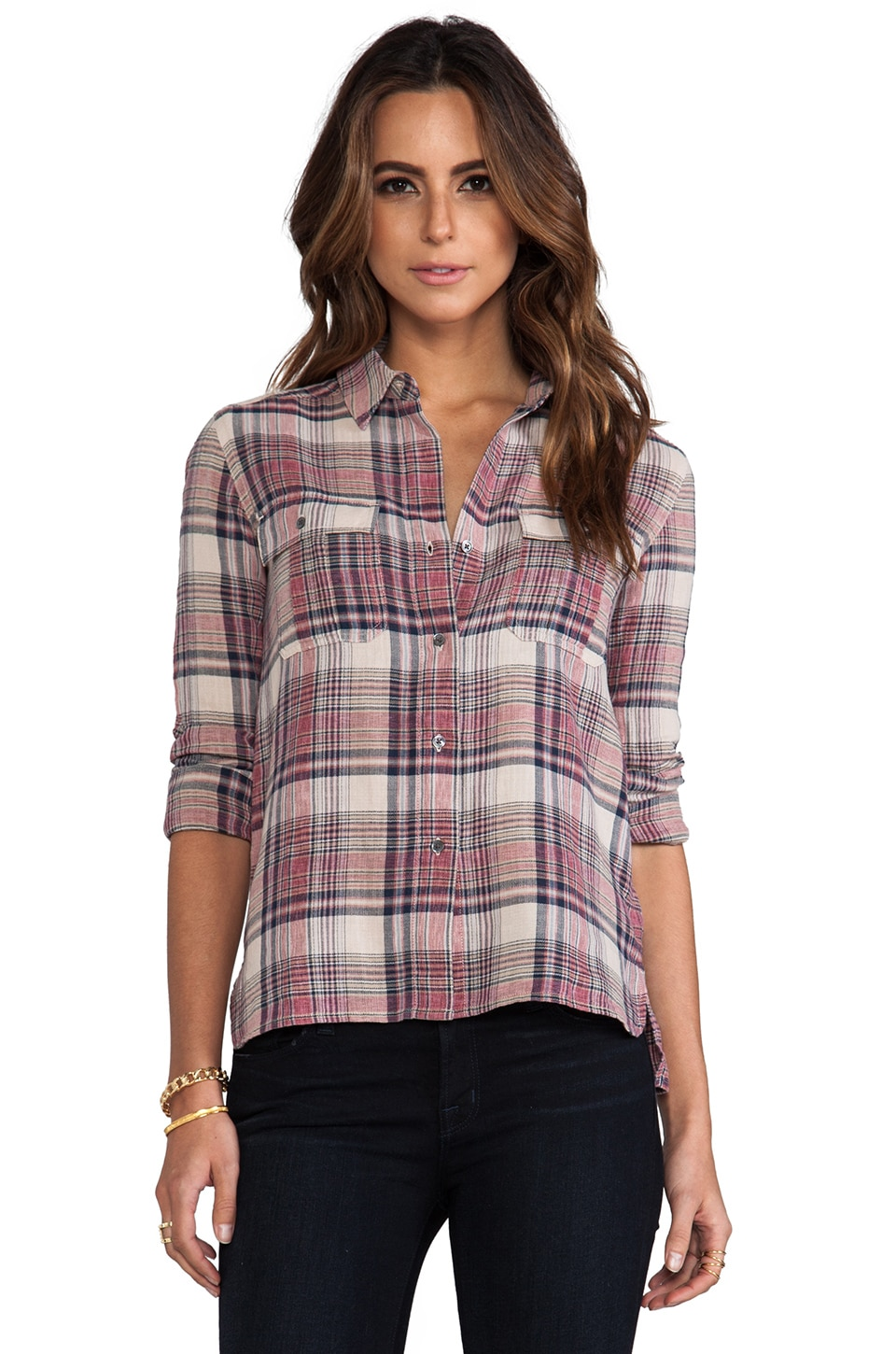James Perse Shorteditch Plaid Pocket Shirt in Ember