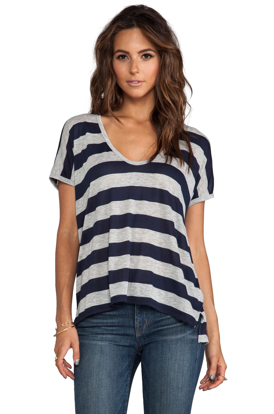 James Perse Camper Stripe Tee in Navy/Heather Grey