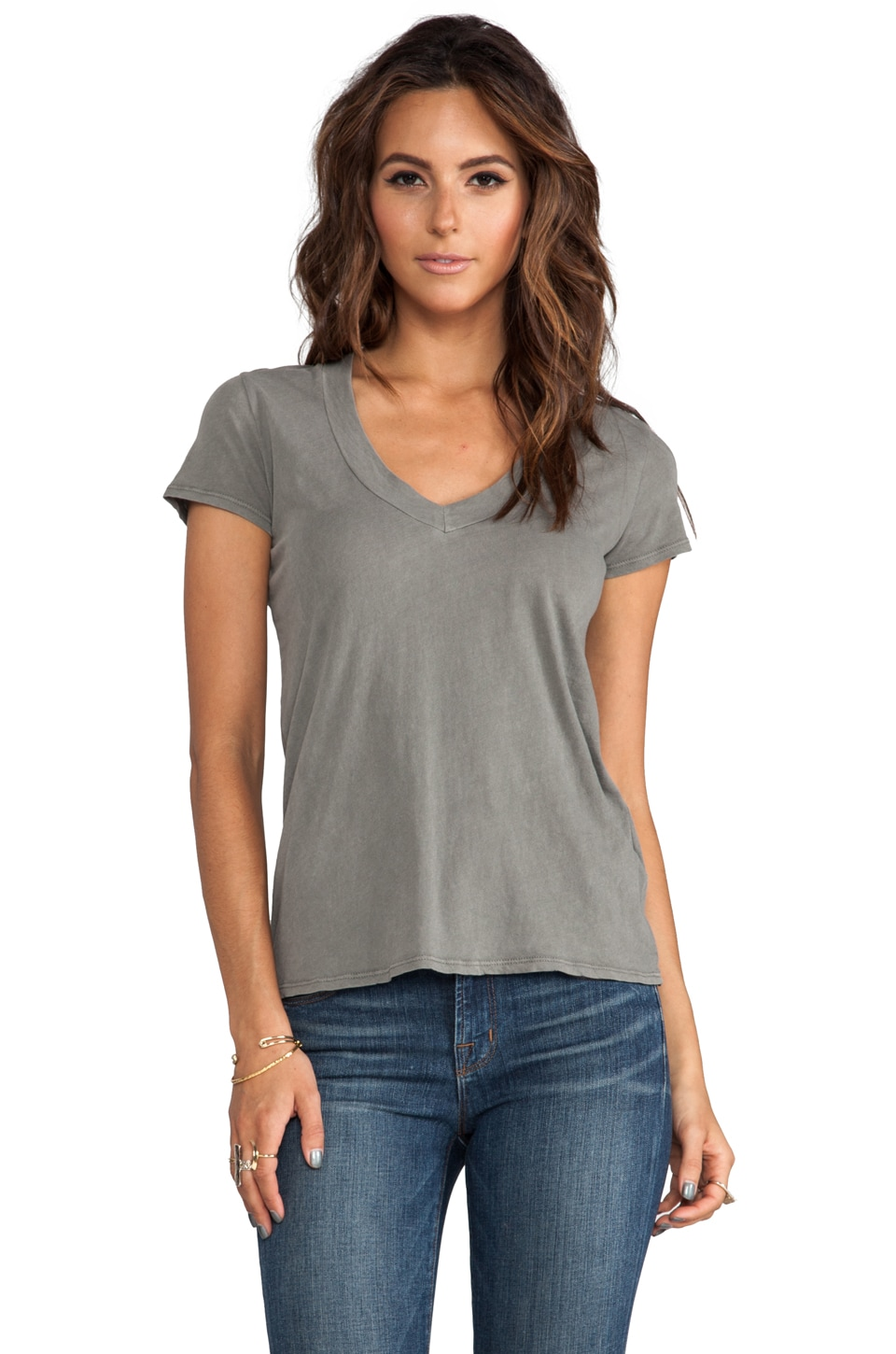 James Perse Relaxed Casual V Neck in Spruce