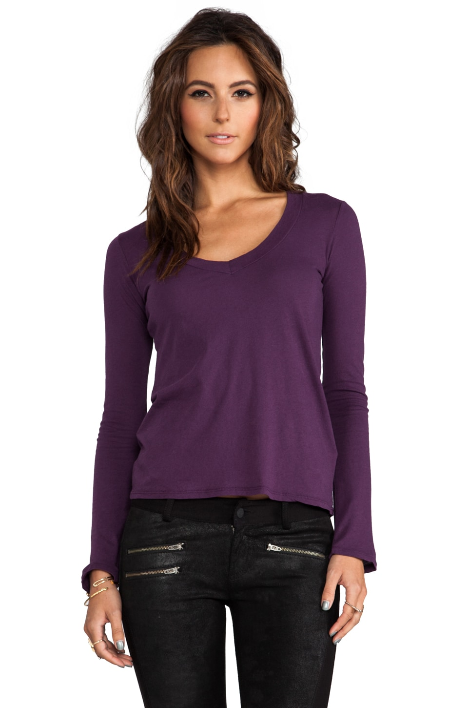James Perse Long Sleeve V Neck in Wild Plum