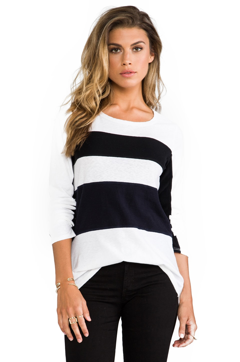 James Perse Block Stripe Long Sleeve Tee in White/Black/Navy