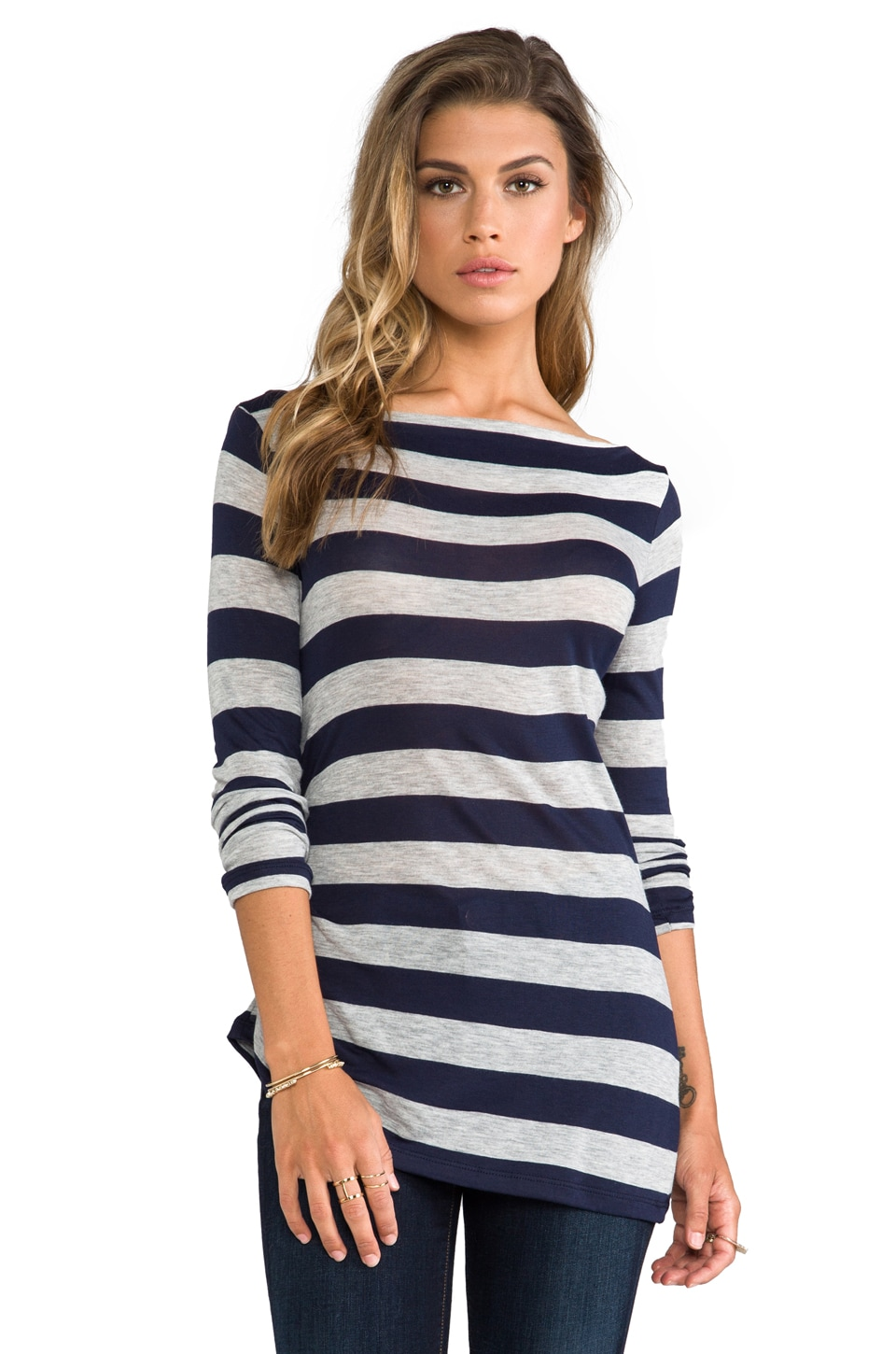 James Perse Tucked Stripe Top in Navy/Heather Grey