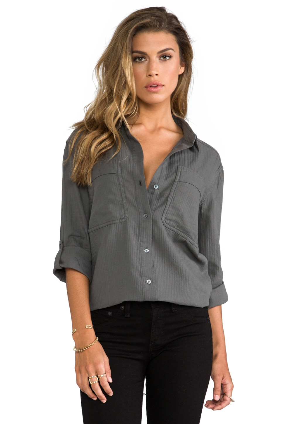 James Perse Crinkle Herringbone Surplus Button Down in Jungle