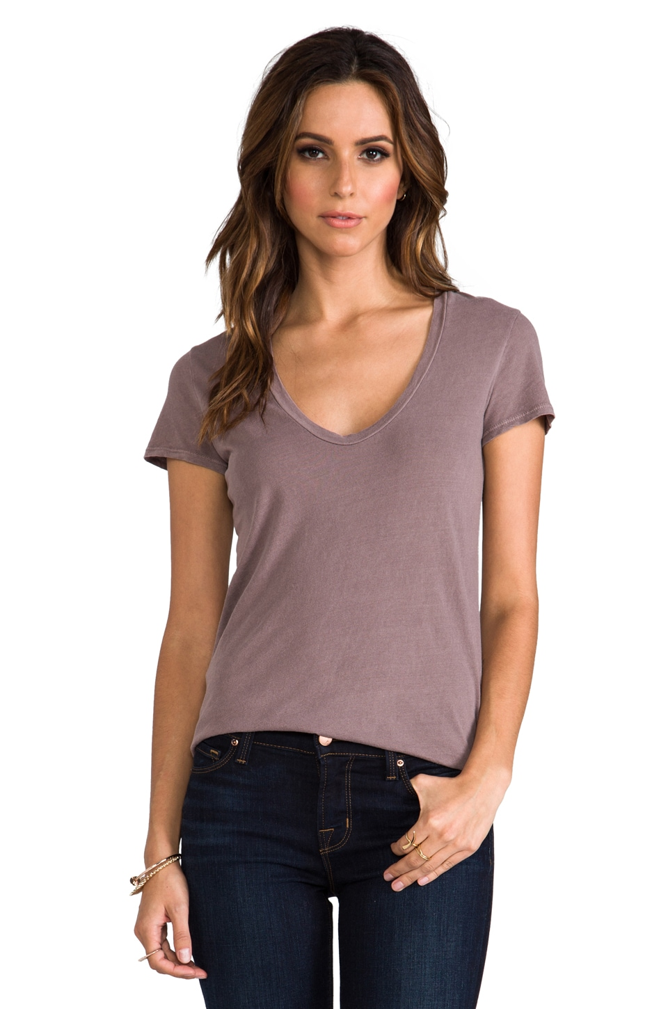 James Perse Relaxed Casual Scoop Neck in Red Ash