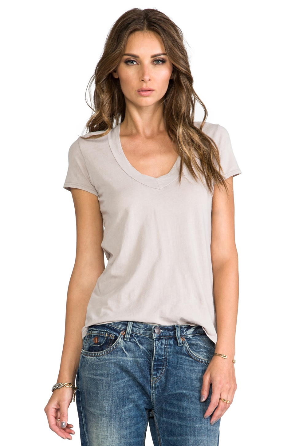 James Perse Relaxed Casual V Neck in Nude