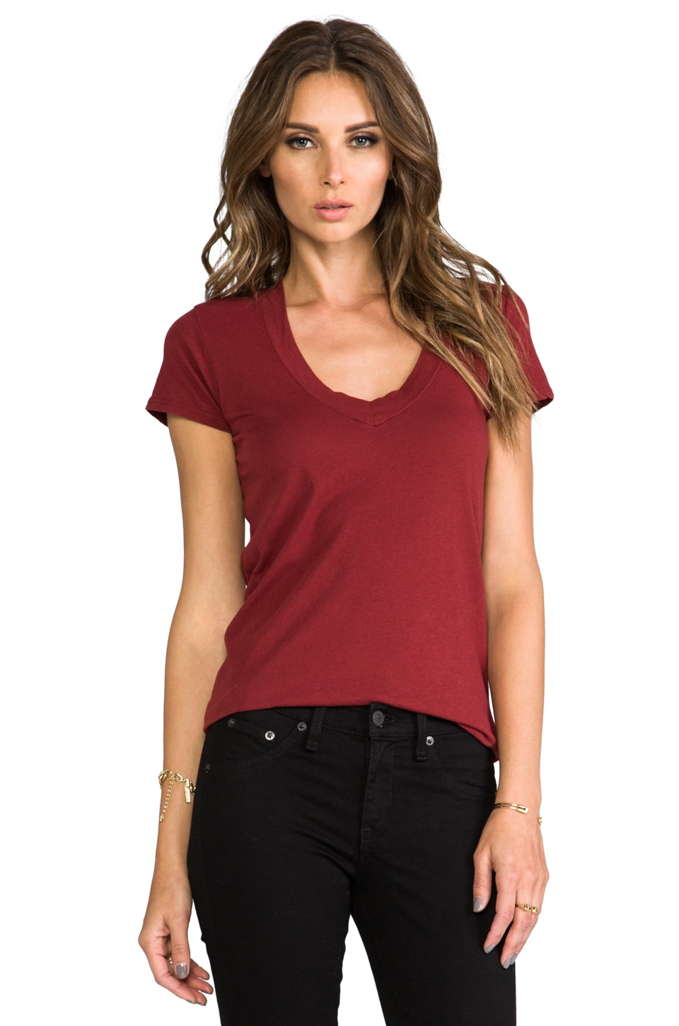 James Perse Relaxed Casual V Neck in Siren
