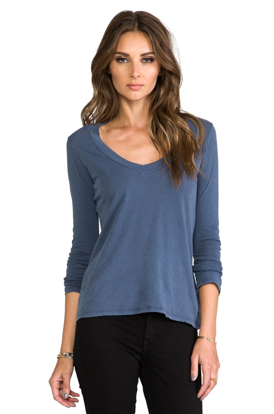 James Perse Long Sleeve V Neck in Marine