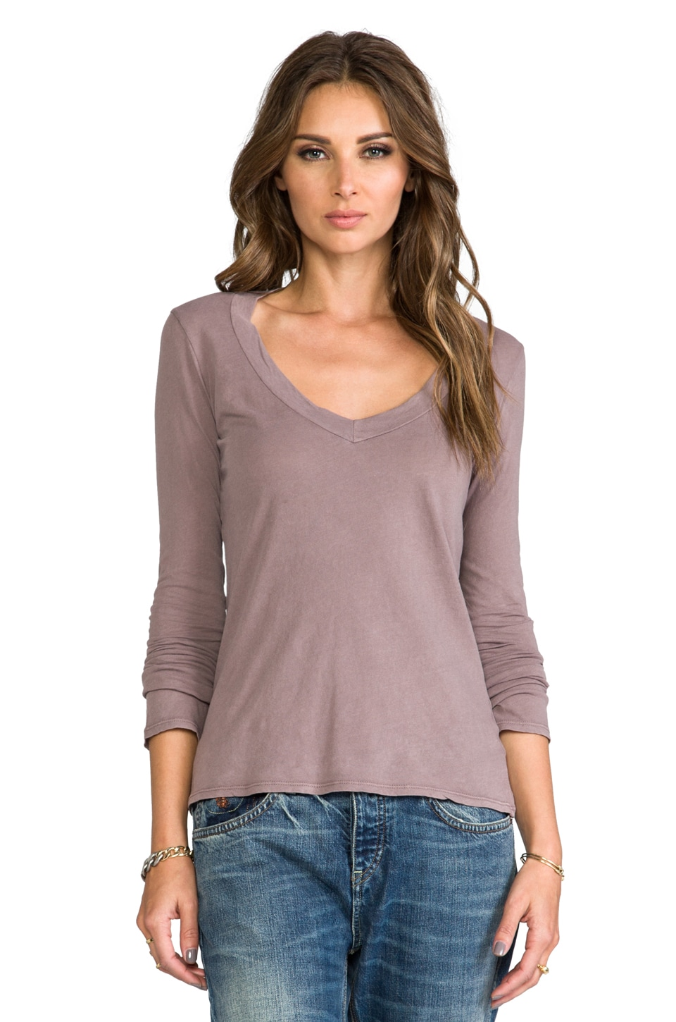 James Perse Long Sleeve V Neck in Red Ash
