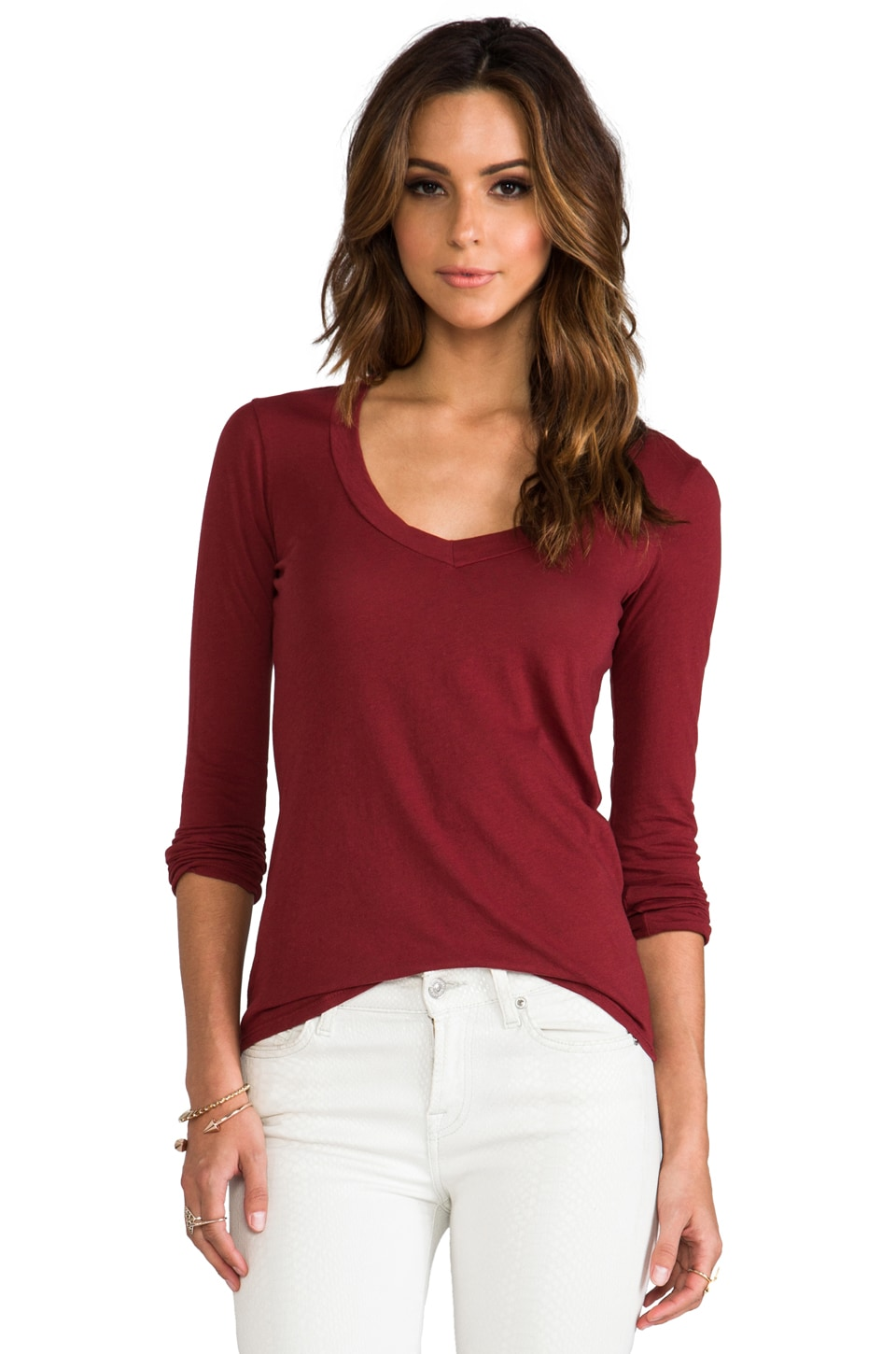 James Perse Long Sleeve V Neck in Siren