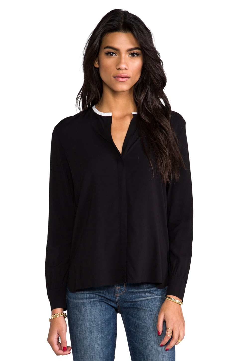 James Perse Contrast Collar Blouse in Black & White