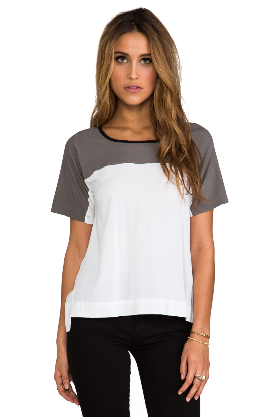 James Perse Colorblock Tee in White/Spruce/Black