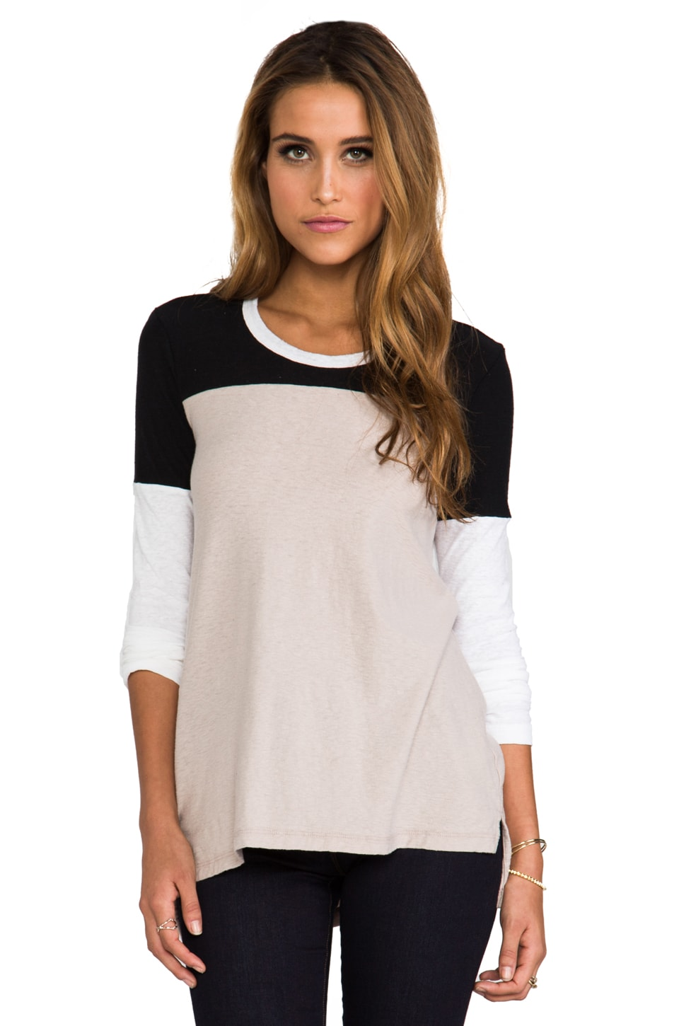 James Perse Colorblock Varsity Tee in Nude/White/Black