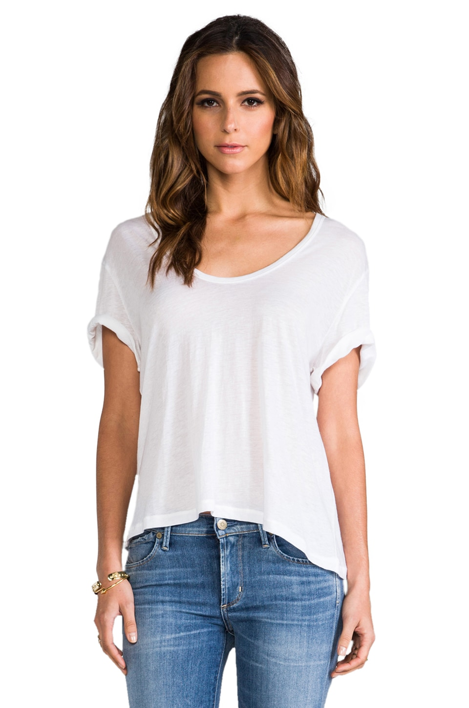 James Perse Cotton Cashmere V Neck in White