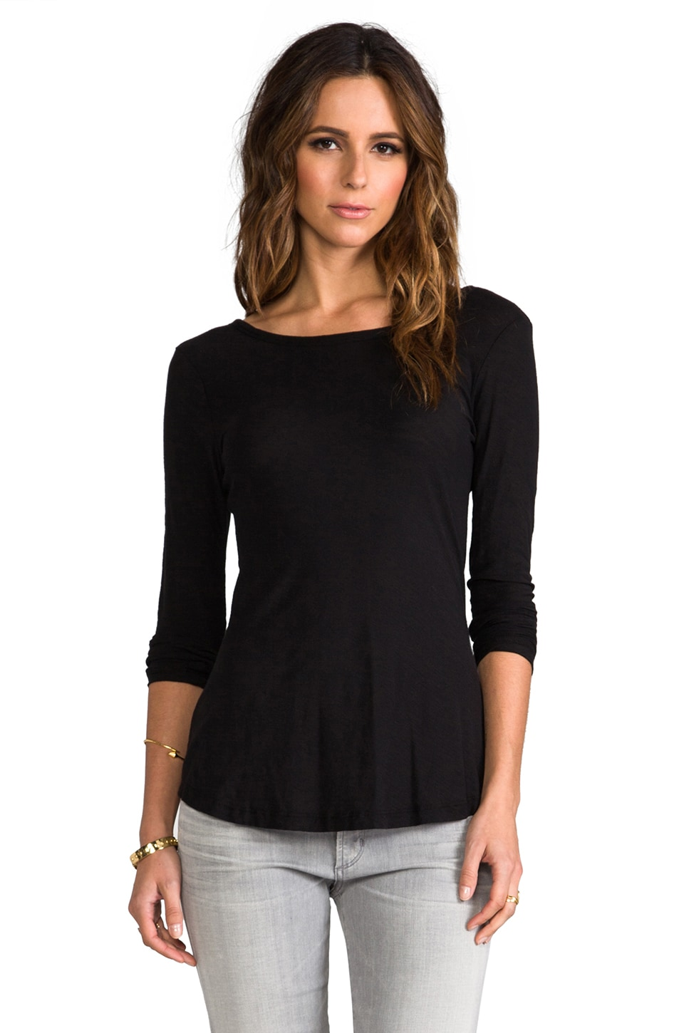 James Perse Sheer Slub Long Sleeve Tee in Black