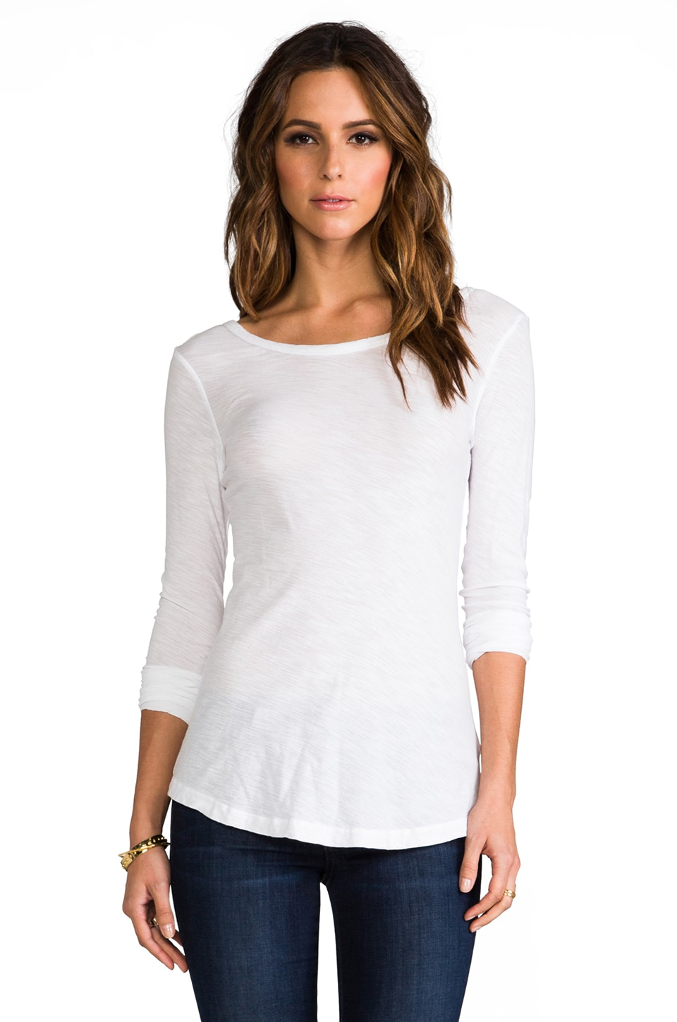 James Perse Sheer Slub Long Sleeve Tee in White