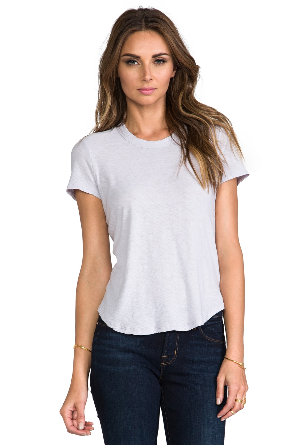 James Perse Sheer Slub Crew Neck Tee in Close