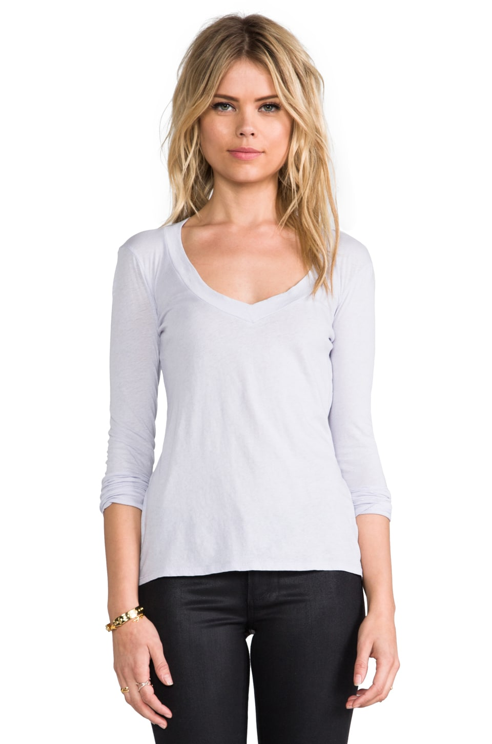 James Perse Long Sleeve Relaxed Casual V in Close