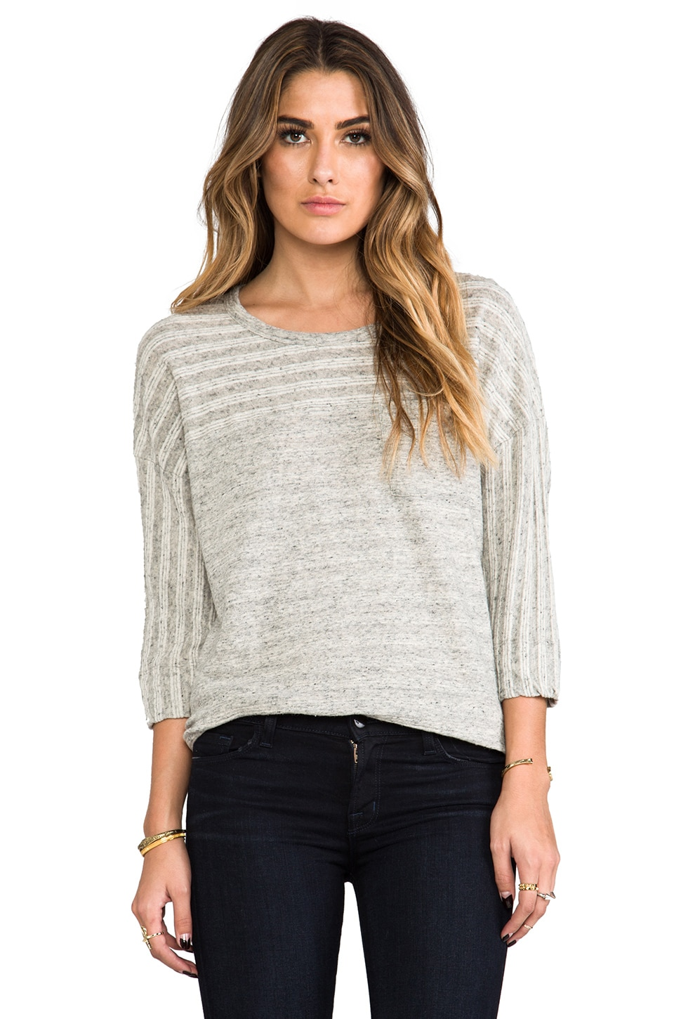 James Perse Colorblocked Breton Sweat Top in Heather Grey