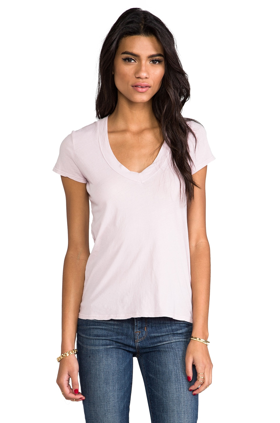 James Perse Short Sleeve Relaxed Casual V in Degas