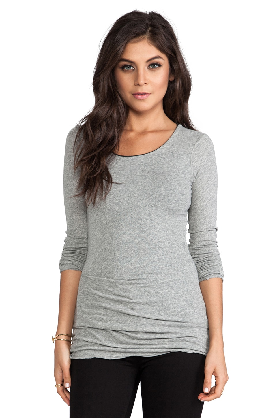 James Perse Jersey Long Sleeve Tuck Crew in Heather Grey & Charcoal