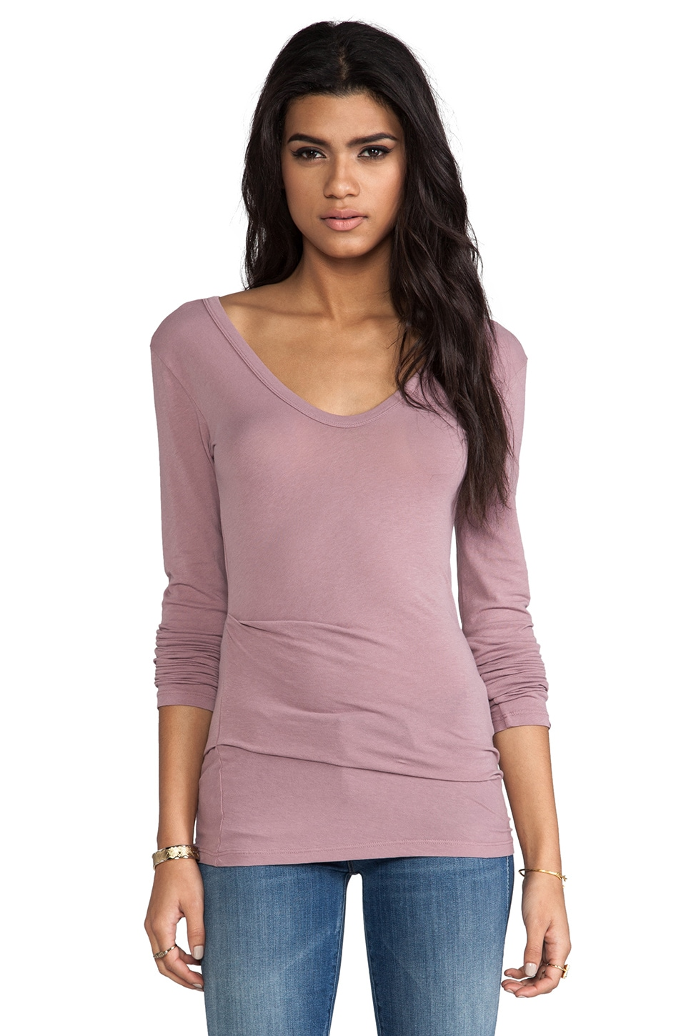 James Perse Tucked Double V Tee in Wild Rose