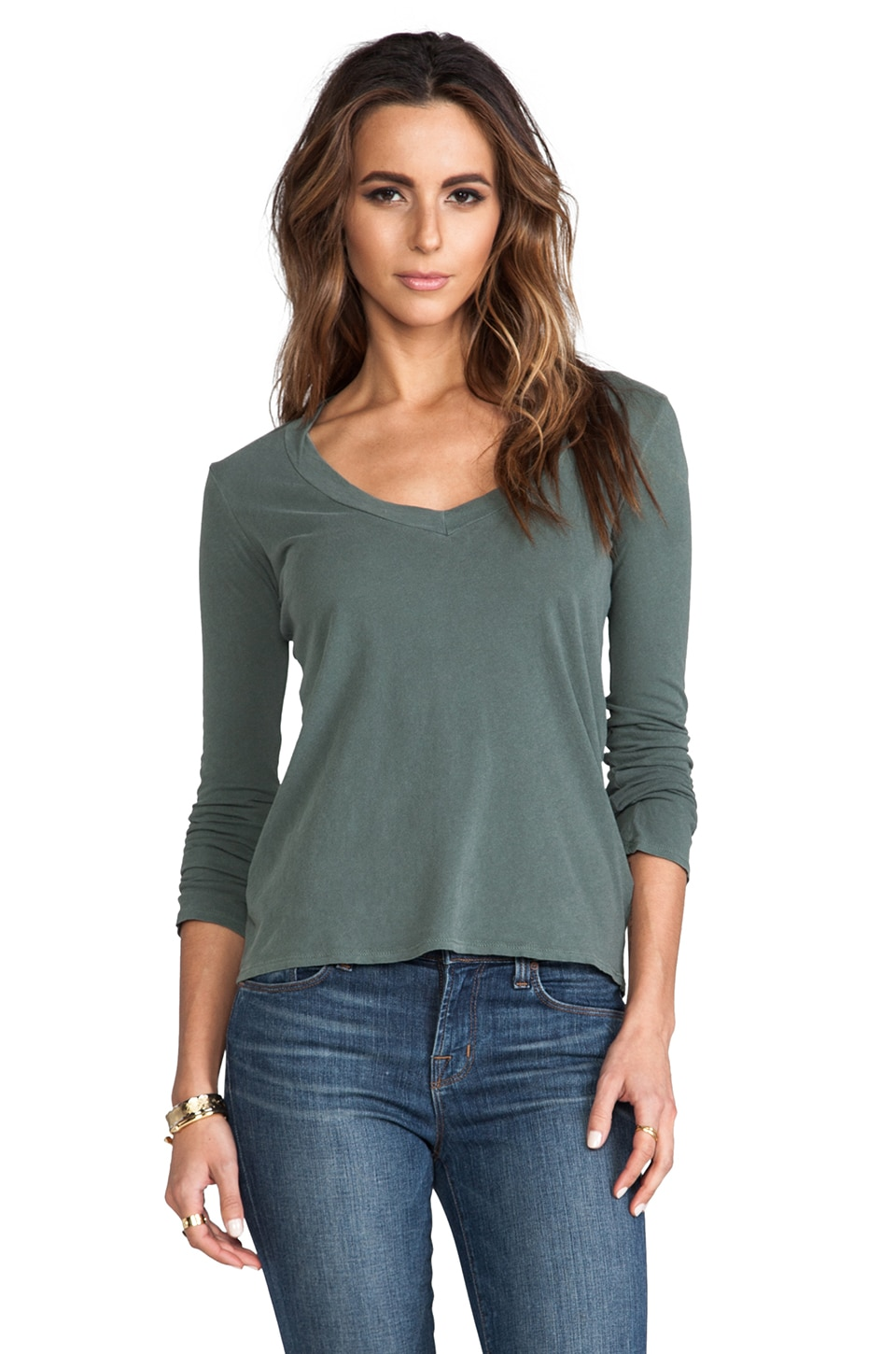 James Perse Long Sleeve V Neck in Forest Green