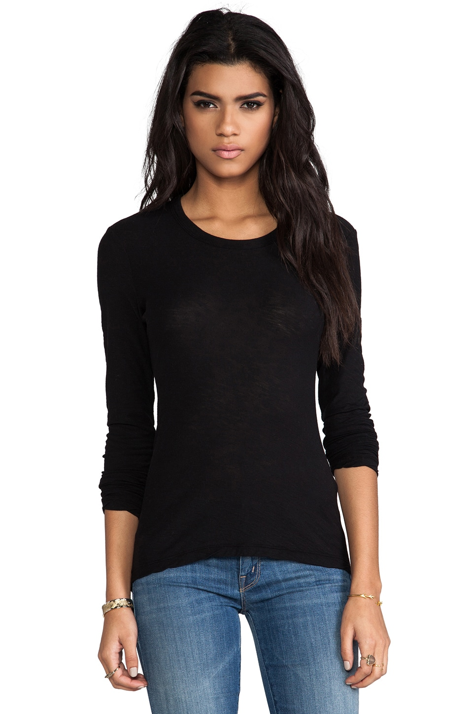 James Perse Long Sleeve Crew in Black