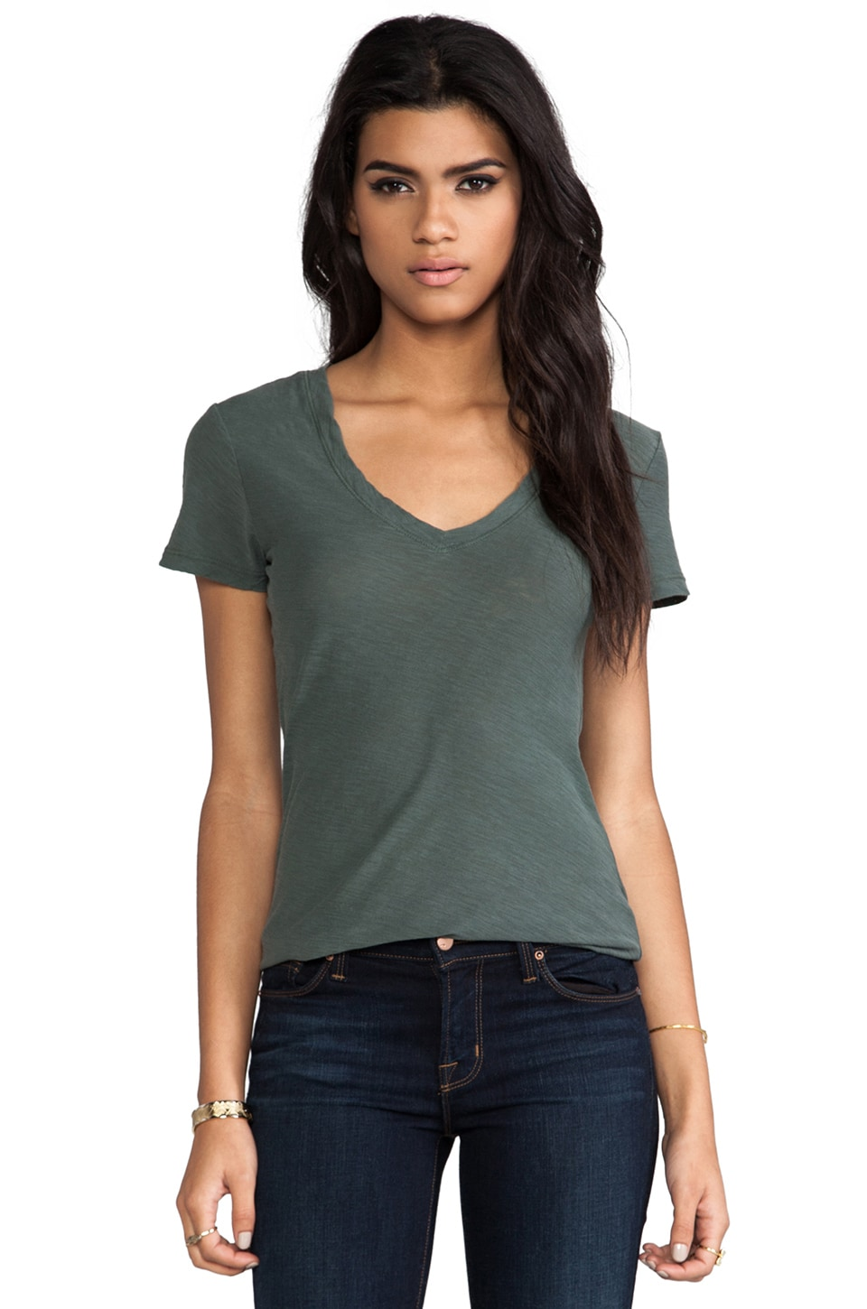 James Perse Casual Tee w/ Reverse Binding in Forest Green