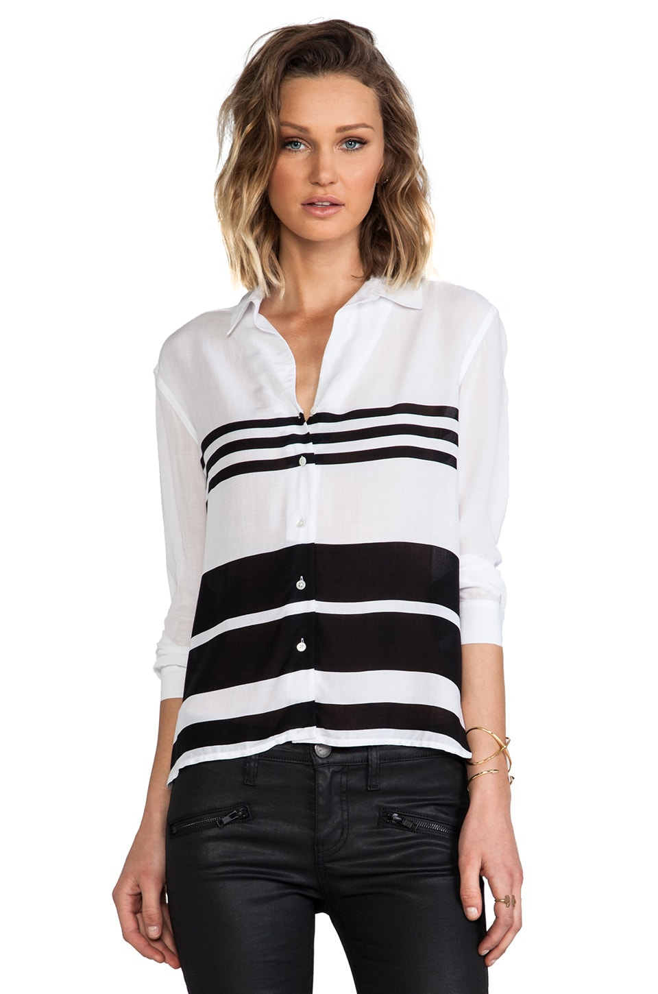 James Perse Relaxed Blanket Stripe Top in White & Abyss