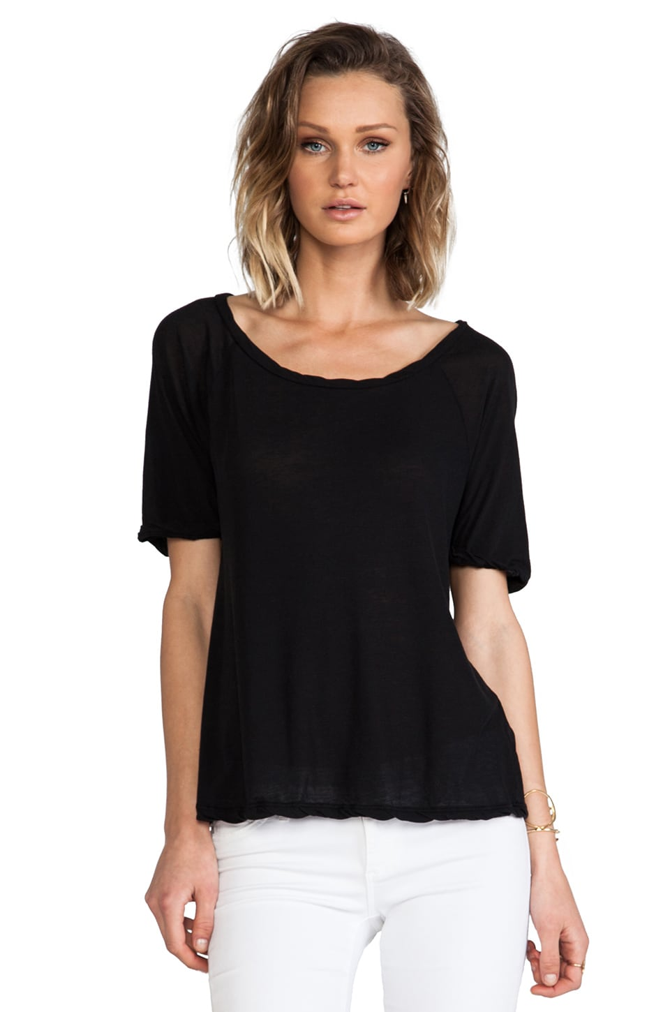 James Perse Jersey Boyfriend Tee in Black