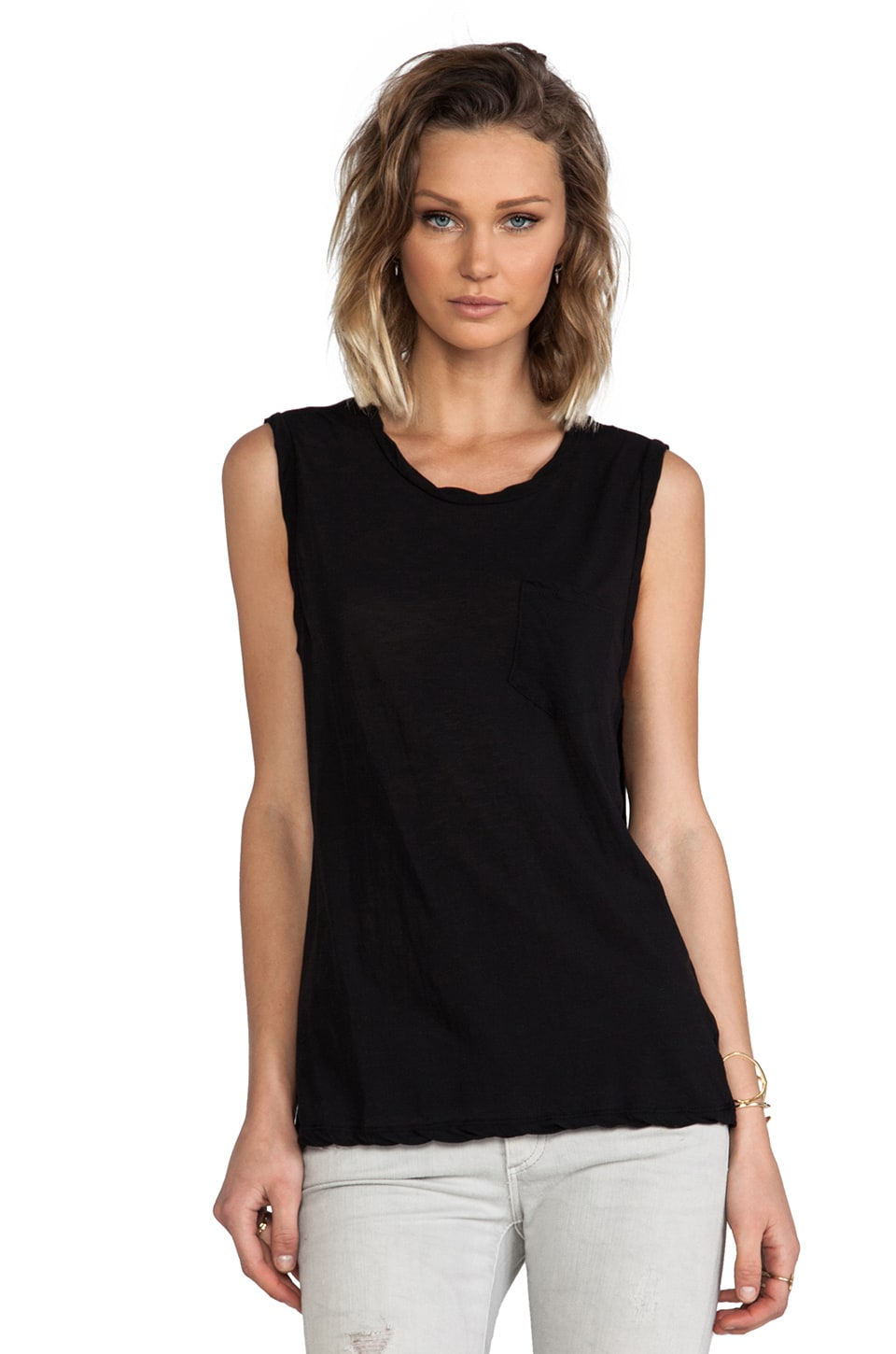 James Perse Shell Tank in Black