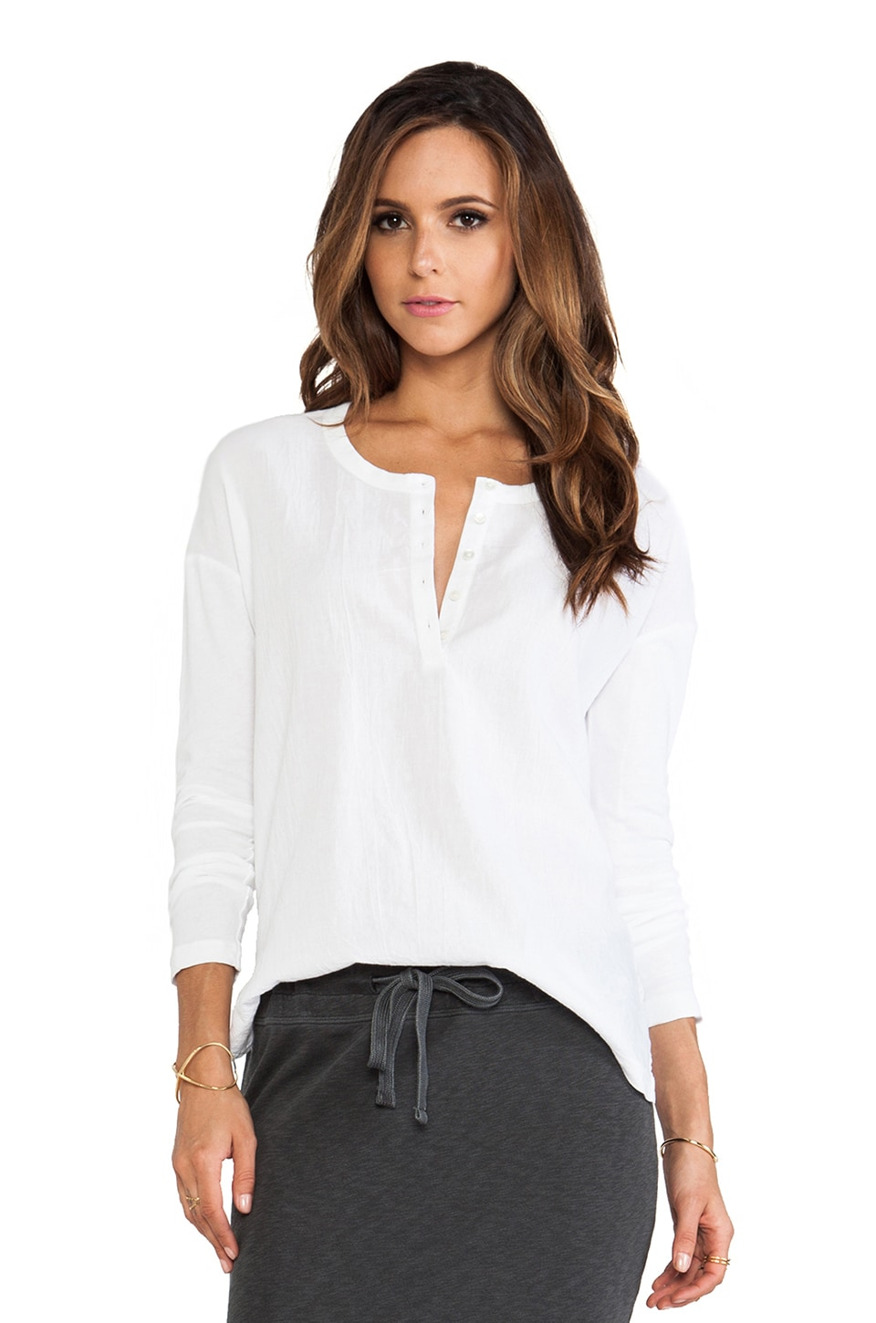 James Perse Boxy Collage Henley in White