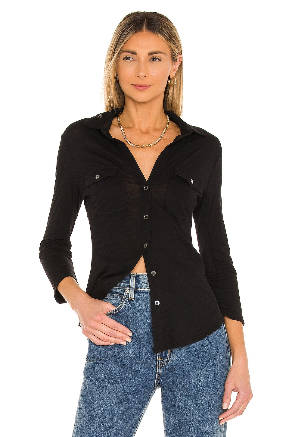 275165888 James Perse Contrast Panel Shirt in Carbon | REVOLVE