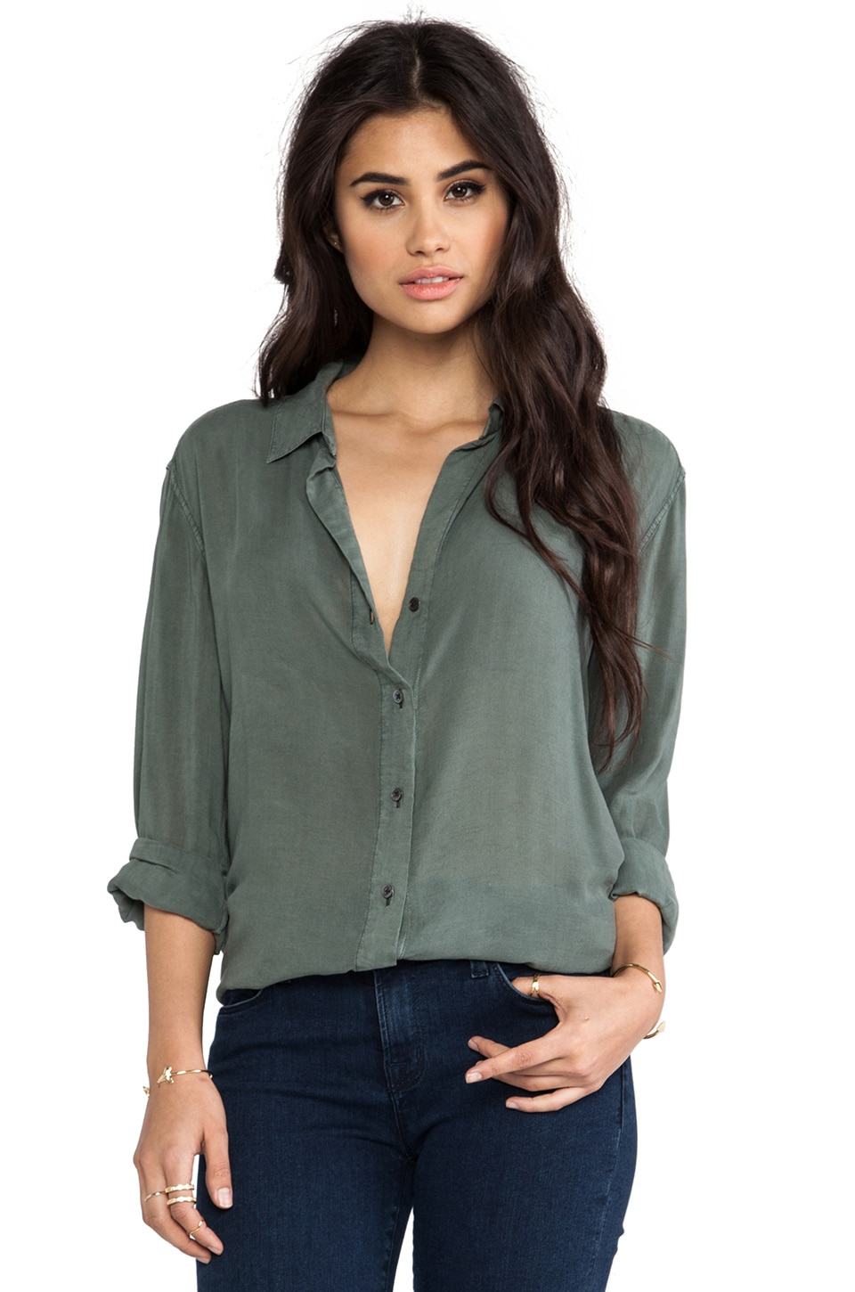 James Perse Relaxed Shirt in Forest Green
