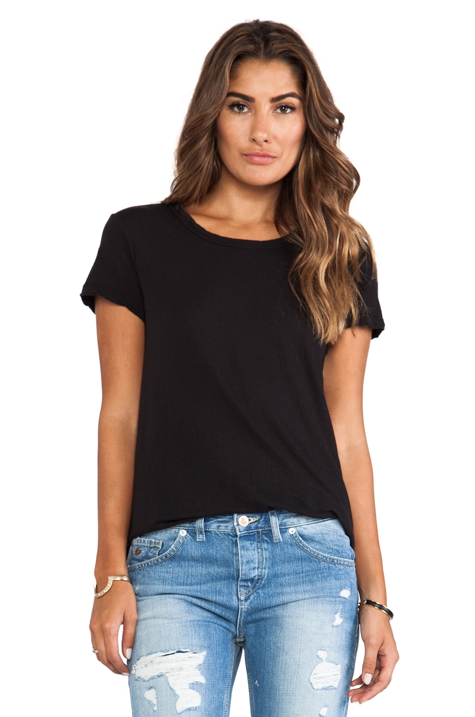 James Perse Crepe Jersey Little Boy Tee in Black
