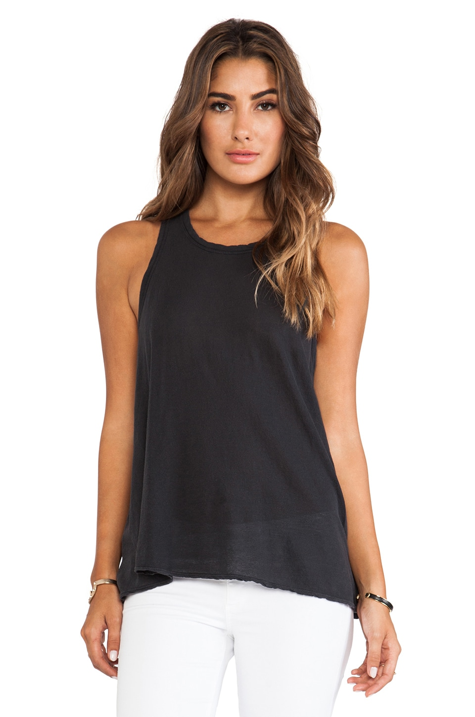 James Perse Crepe Jersey A Line Tank in Carbon