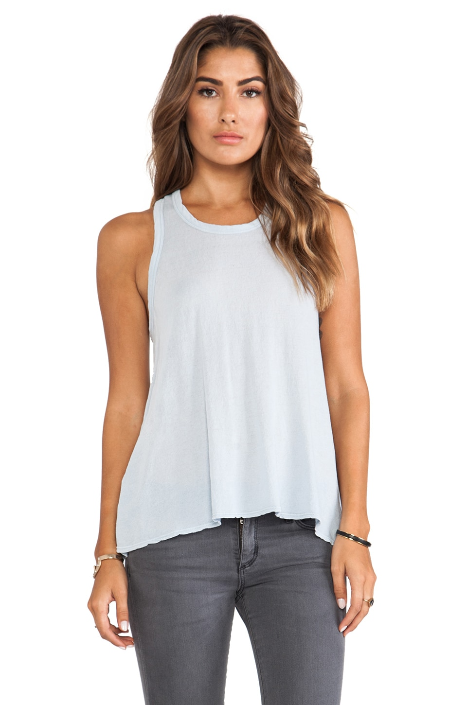 James Perse Crepe Jersey A Line Tank in Grey Glacier